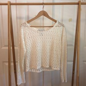 Cropped Sheer Knit Top / White Lace / Long Sleeve